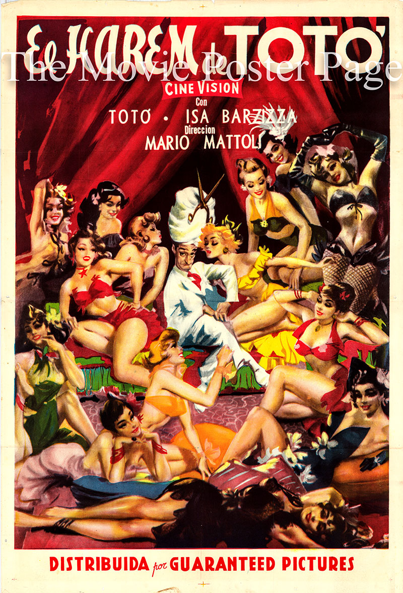 Pictured is an Argentine poster for the 1953 Mario Mattoli film <i>Toto's Harem</i> starring Toto as Felice Sciosciammocca, or Don Felice.
