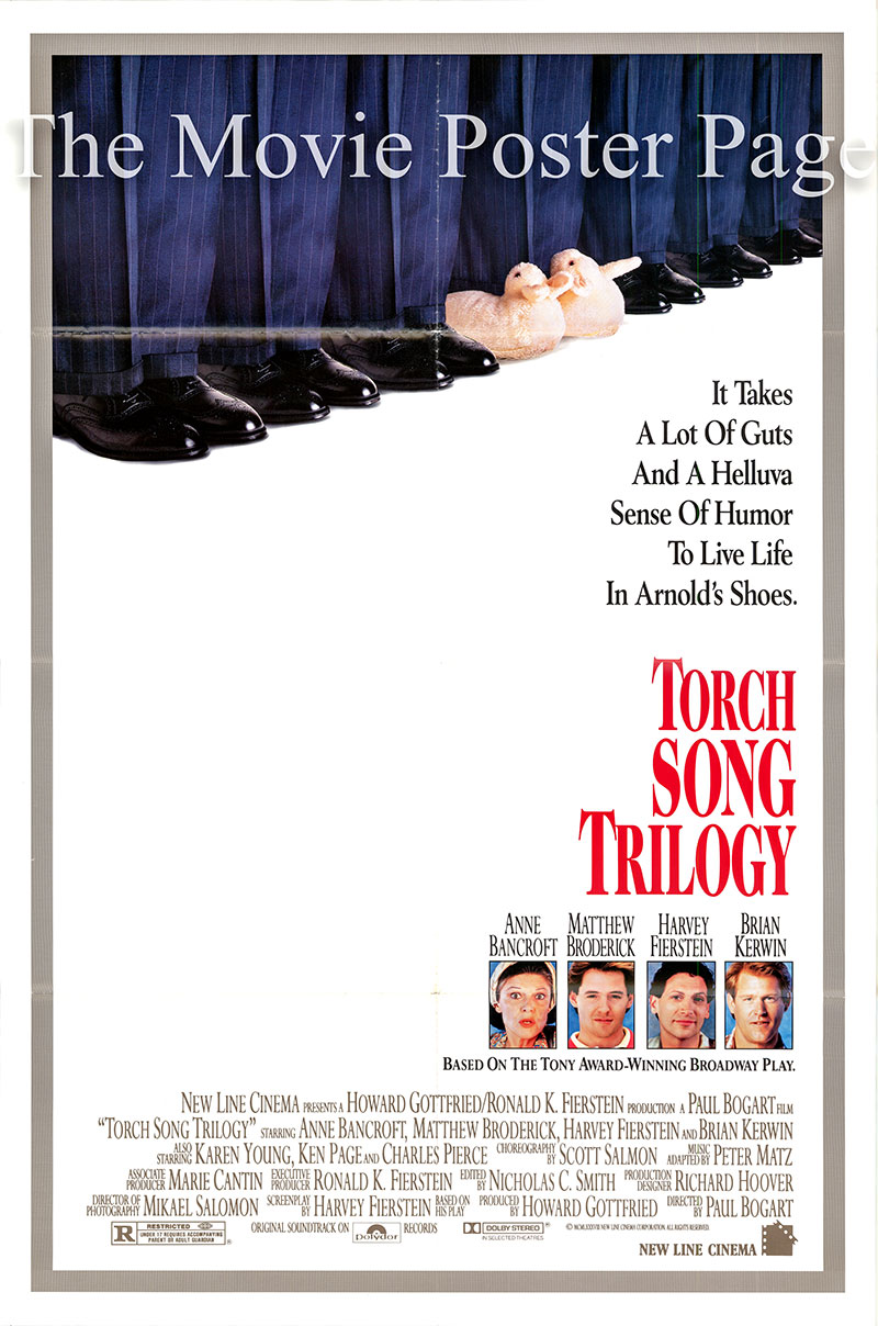 Pictured is a US one-sheet poster for the 1988 Paul Bogart film Torch Song Trilogy starring Anne Bancroft as Ma Beckoff.