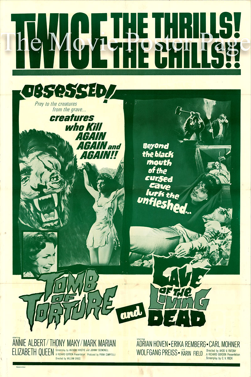 Pictured is a 1966 Trans Lux combo one-sheet poster for the horror films Tomb of Torture and Cave of the Living Dead.