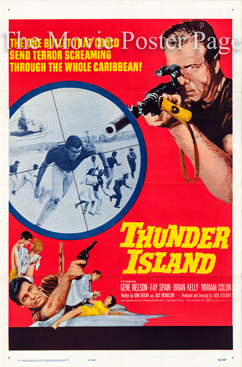 Pictured is a US one-sheet poster for the 1963 Jack Leewood film Thunder Island starring Gene Nelson as Billy Poole.