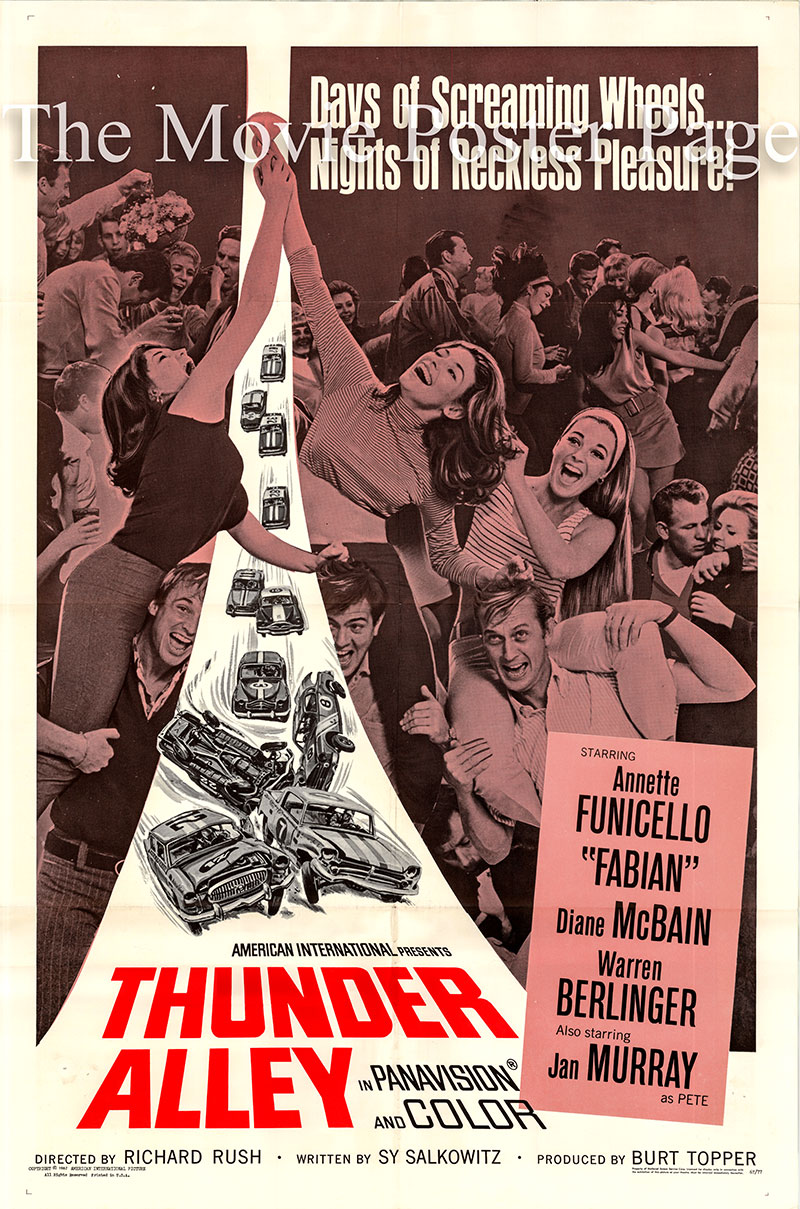 Pictured is US one-sheet poster for the 1967 Richard Rush film Thunder Alley starring Annette Funicello as Francie Madsen.
