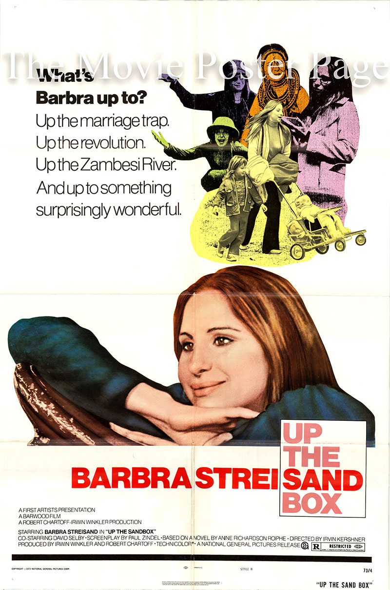 Pictured is a US promotional poster for the 1972 Irvin Kershner film Up the Sandbox starring Barbra Streisand as Margaret Reynolds.
