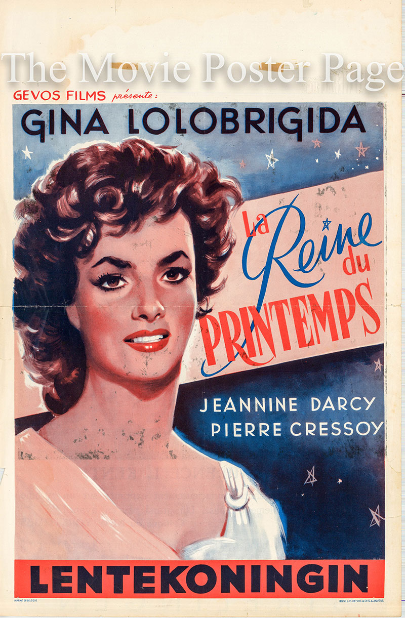 Pictured is a Belgian poster for the 1953 Mario Monicelli film The Unfaithfuls starring Gina Lologrigida as Lulla Possenti.
