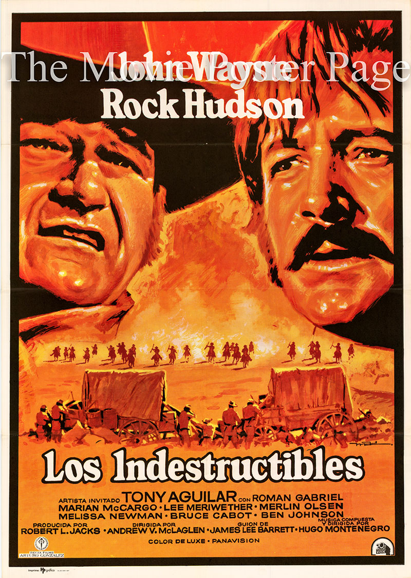 Pictured is a Spanish one-sheet poster for the 1969 Andrew V. McLaglen film The Undefeated starring John Wayne as Colonel John Henry Thomas.