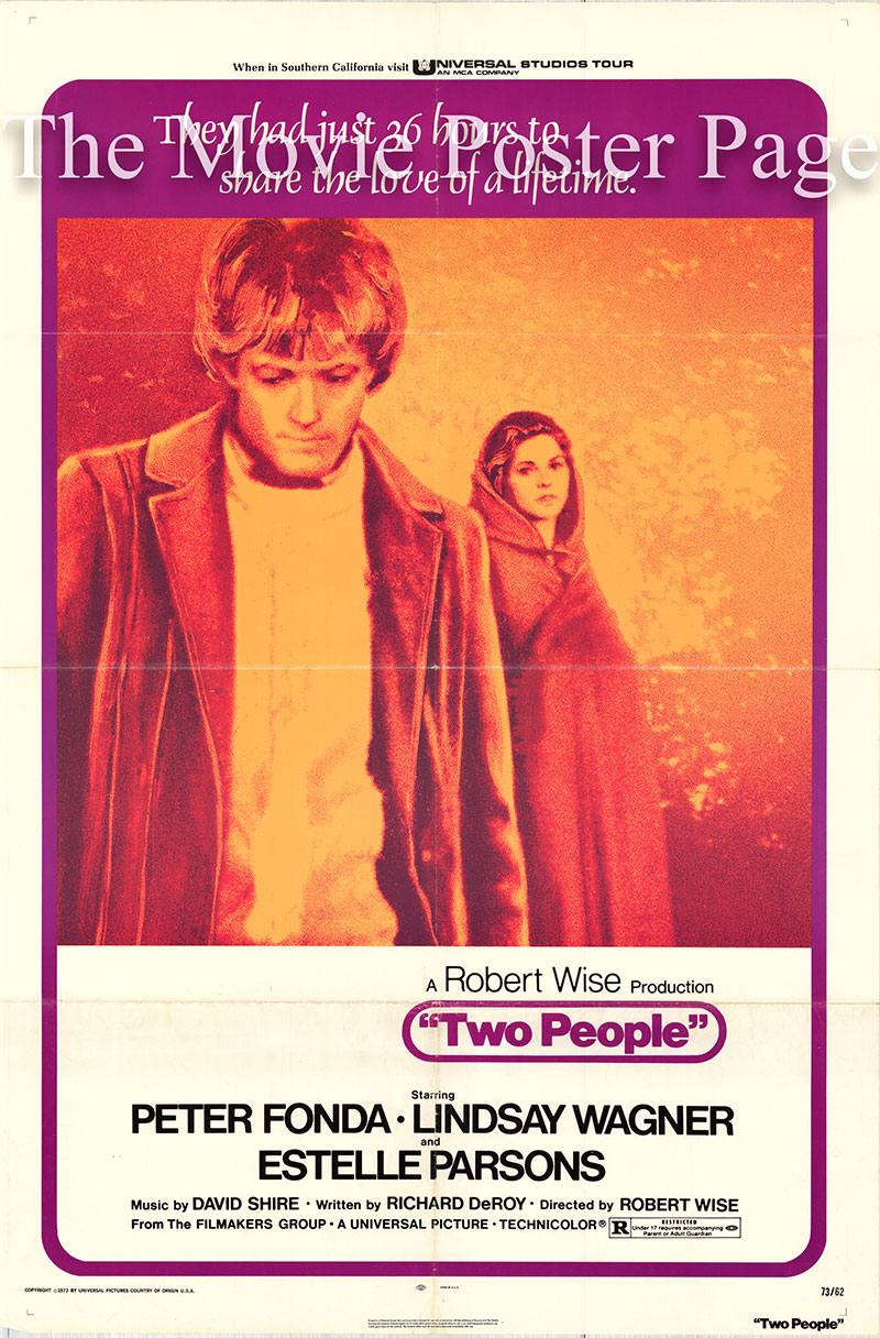 Pictured is a US one-sheet poster for the 1973 Robert Wise film Two People starring Peter Fonda as Evan Bonner.