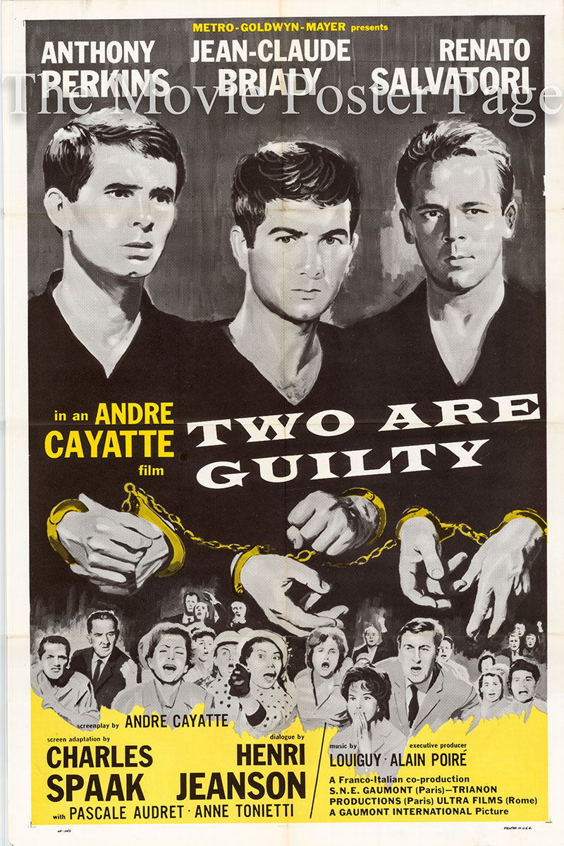 Pictured is a US one-sheet poster for the 196e Andre Cayatte film Two Are Guilty starring anthony Perkins as Johnny Parsons.