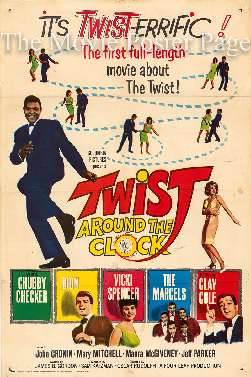 Pictured is a US one-sheet poster for the 1961 Oscar Rudolph film Twist around the Clock starring Chubby Checker as himself.