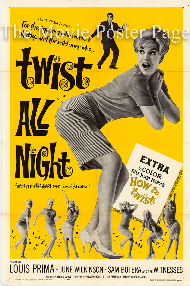 Pictured is a US one-sheet poster for the 1961 Allan David and William J. Hole Jr. film Twist all Night starring Luis Prima as Louis Evans.