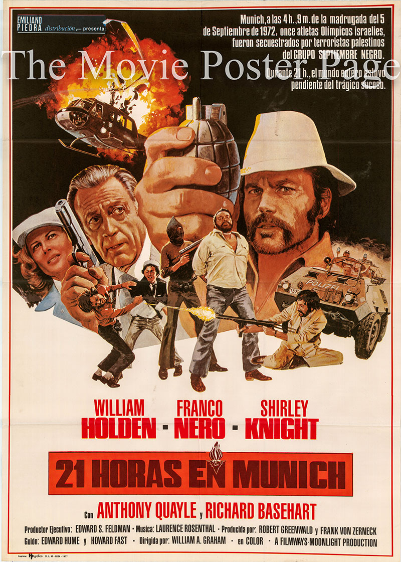 Pictured is a Spanish one-sheet poster for the 1976 William A. Graham film 21 Hours at Munich starring William Holden as Chief of Police Manfred Schreiber.