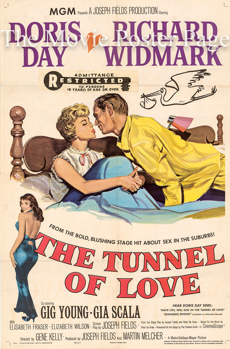 Pictured is a US one-sheet poster for the 1958 Gene Kelly film The Tunnel of Love starring Doris Day as Isolde Poole.