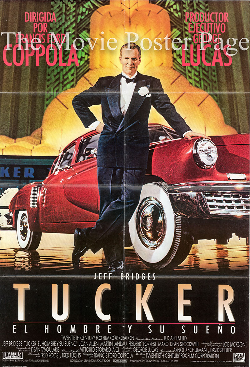 Pictured is a Spanish one-sheet poster for the 1988 Francis Ford Coppola film Tucker starring Jeff Bridges as Preston Tucker.