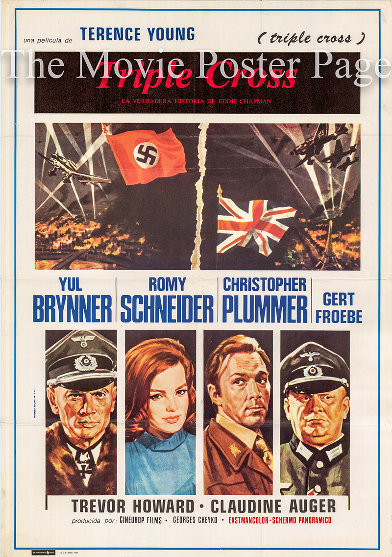 Pictured is a Spanish one-sheet poster for a 1980 rerelease of the 1966 Terence Young film Triple Cross starring Christopher Plummer as Eddie Chapman.