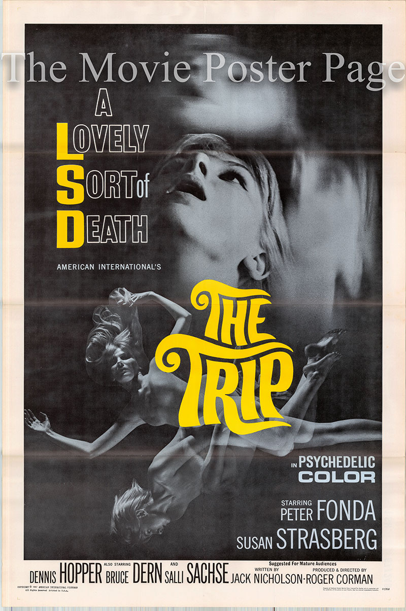 Pictured is a US one-sheet poster for the 1967 Roger Corman film The Trip starring Peter Fonda as Paul Groves.