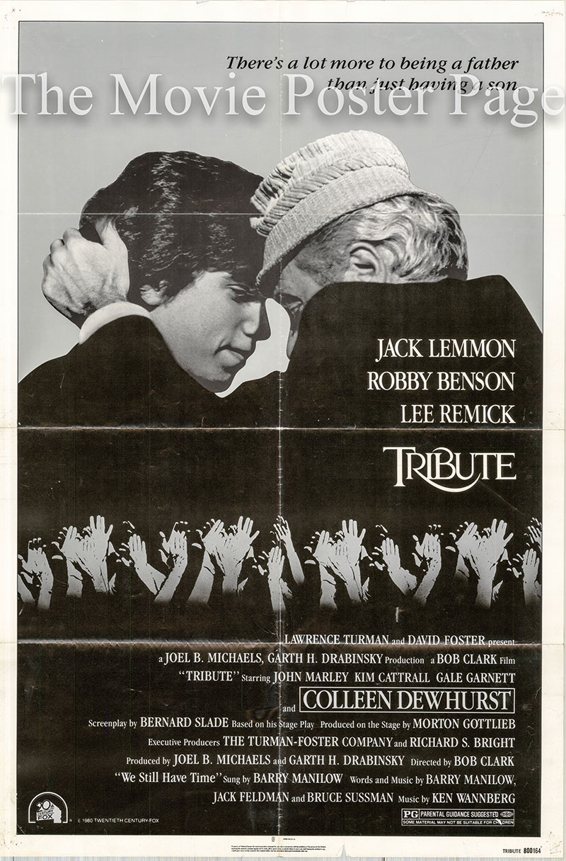 Pictured is a US one-sheet poster for the 1980 Bob Clark film Tribute starring Jack Lemmon as Scottie Templeton.