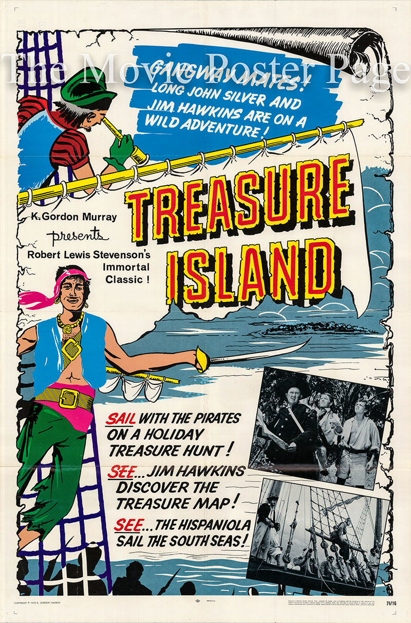 Pictured is a US one-sheet poster for the 1971 K. Gordon Murray Production Treasure Island.