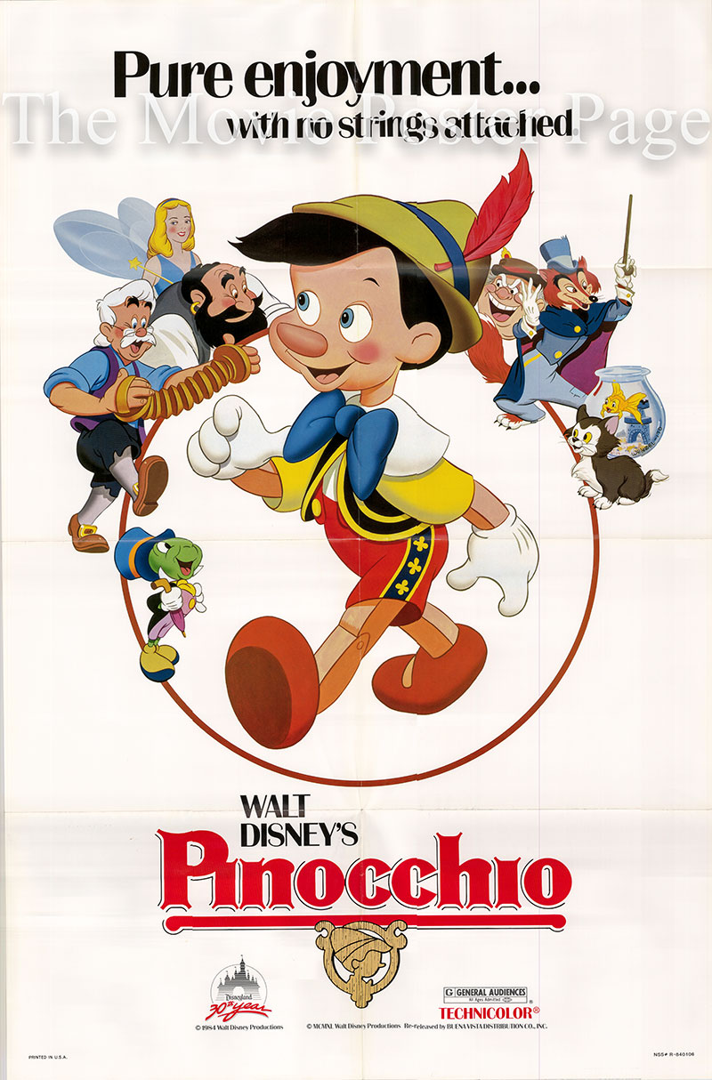 Pictured is a US one-sheet poster for a 1984 rerelease of the 1940 Norman Ferguson film Pinocchio starring Dickie Jones as the voice of Pinocchio.