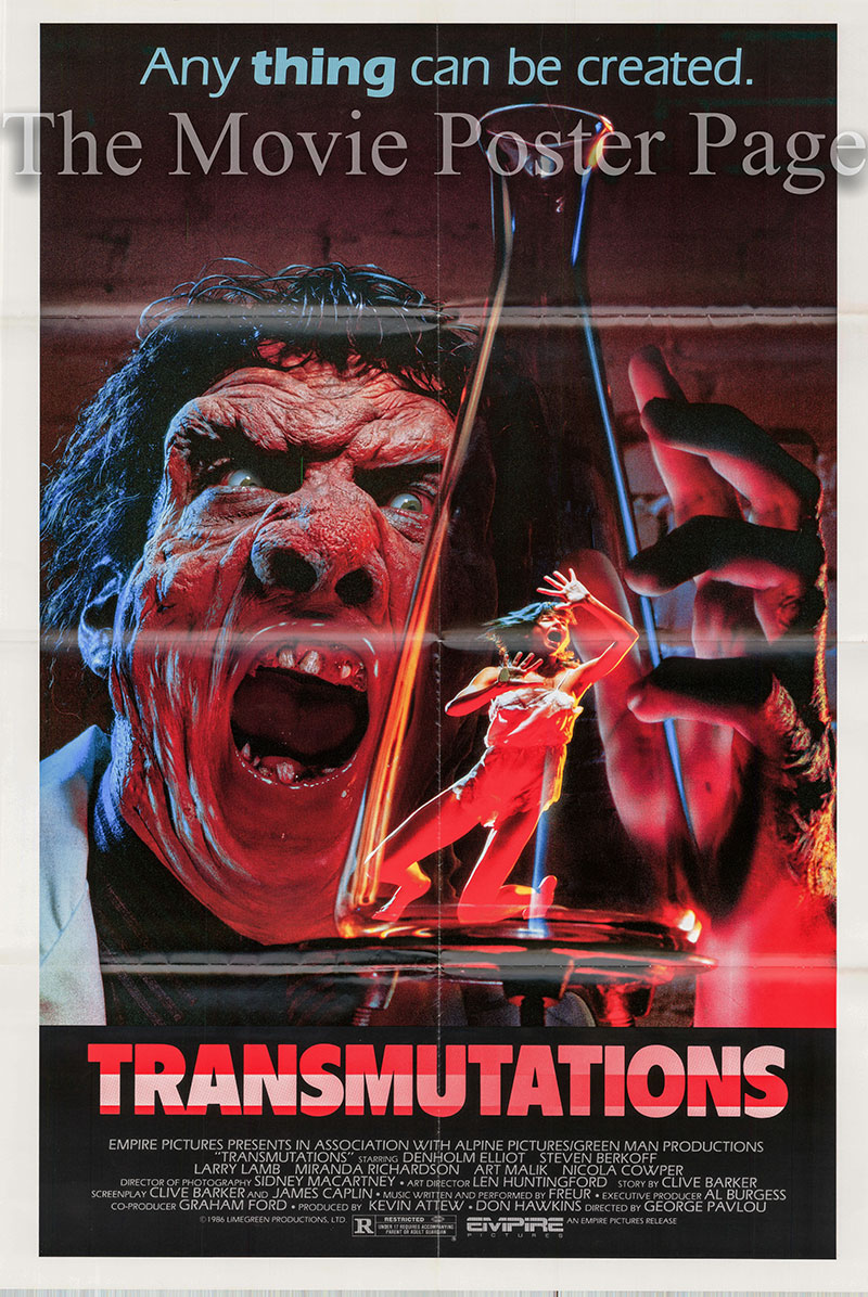Pictured is a US one-sheet poster for the 1986 George Pavlou film Transmutations starring Denholm Elliott as Dr. Savary.