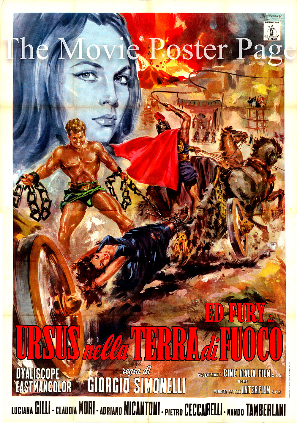 Pictured is an Italian four-sheet poster for the 1963 Giorgio Simonelli film Ursus in the Land of Fire starring Ed Fury as Ursus.
