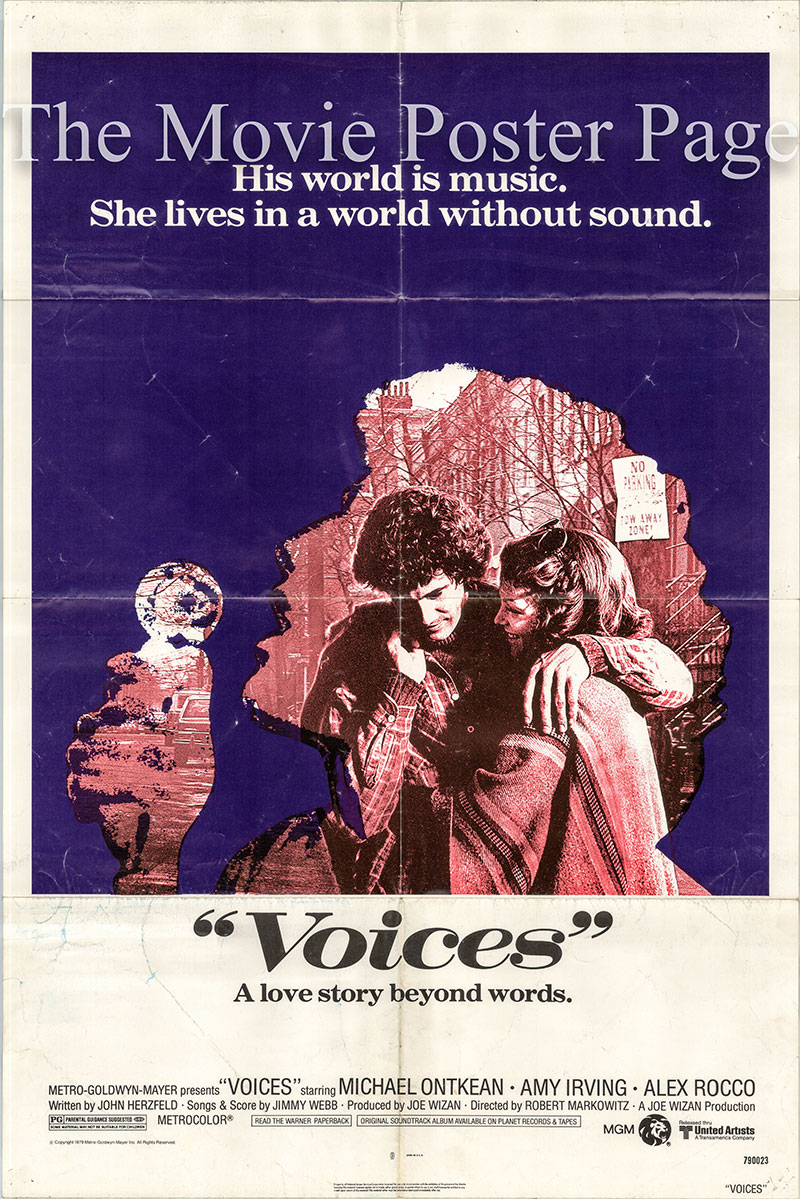 Pictured is a US one-sheet poster for the 1979 Robert Markowitz film Voices starring Michael Ontkean as Drew Rothman.