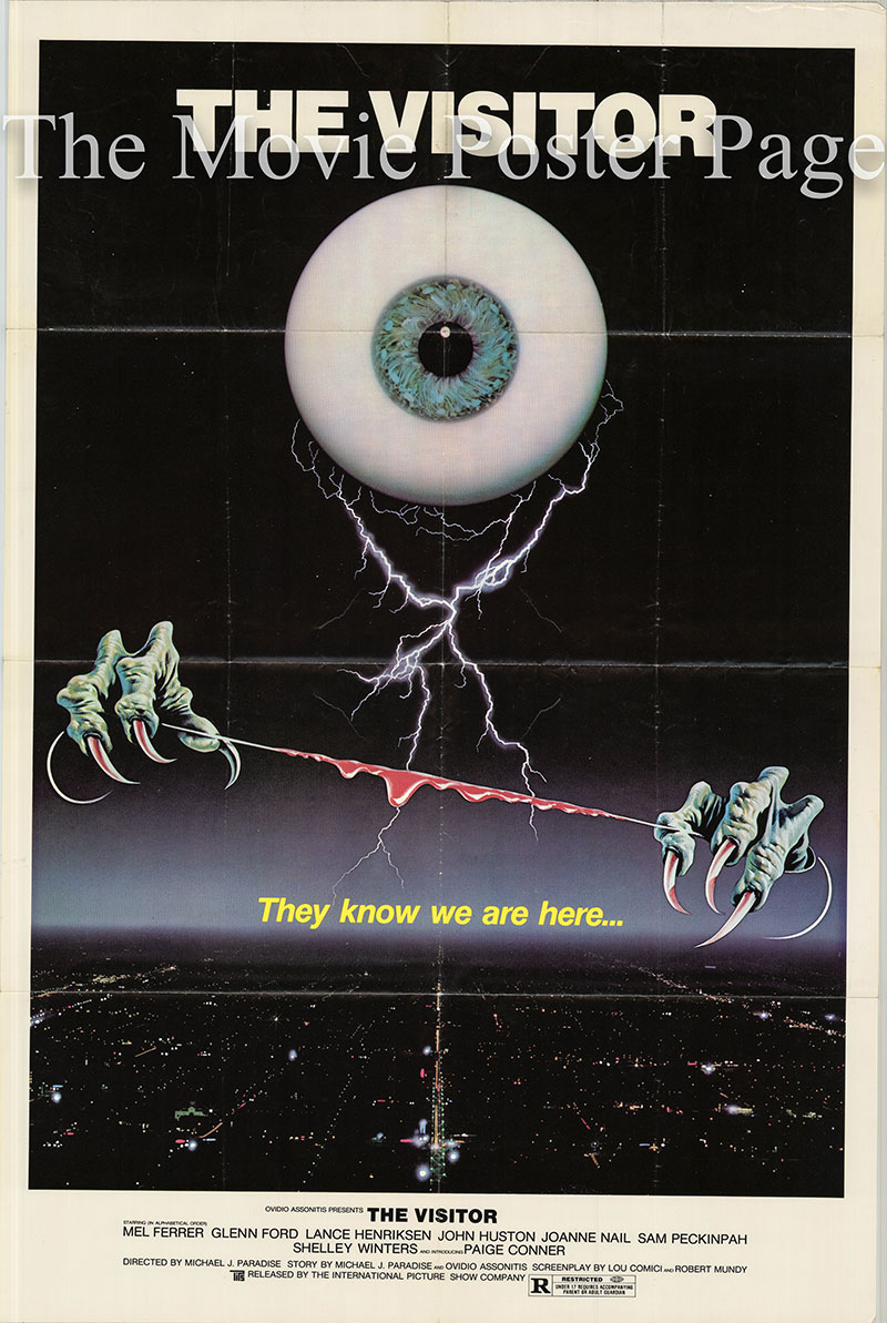 Pictured is a US one-sheet poster for the 1979 Giulio Paradisi film The Visitor starring Mel Ferrer as Dr. Walker.