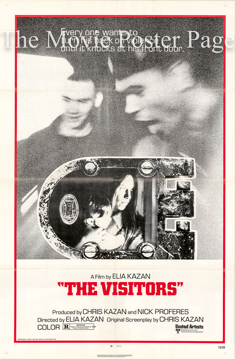 Pictured is a US one-sheet poster for the 1972 Elia Kazan film The Visitors starring Patrick McVey as Harry Wayne.