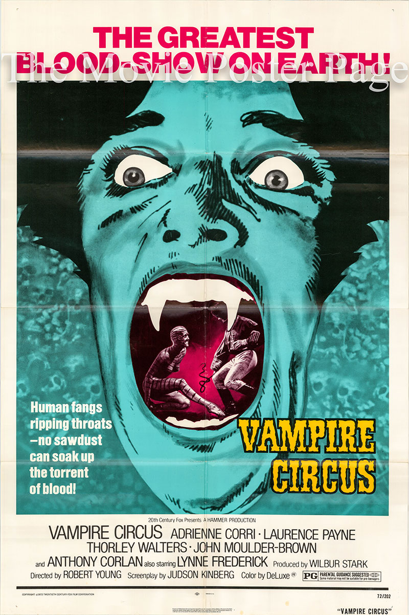 Pictured is a US one-sheet poster for the 1972 Robert Young Hammer Productions film Vampire Circus starring Adrienne Corri as the Gypsy Woman.