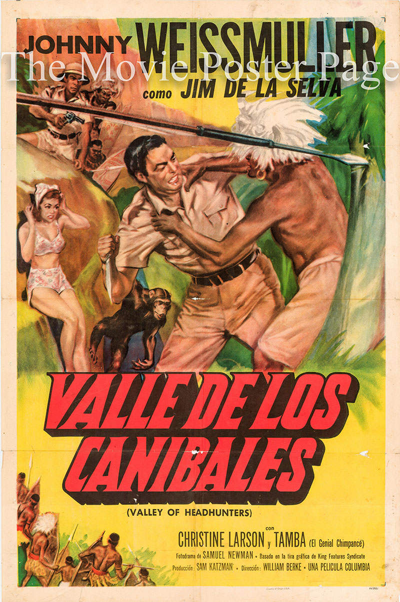 Pictured is a Spanish one-sheet poster for the 1953 William Berke film Valley of Headhunters starring Johnny Weissmuller as Jungle Jim.