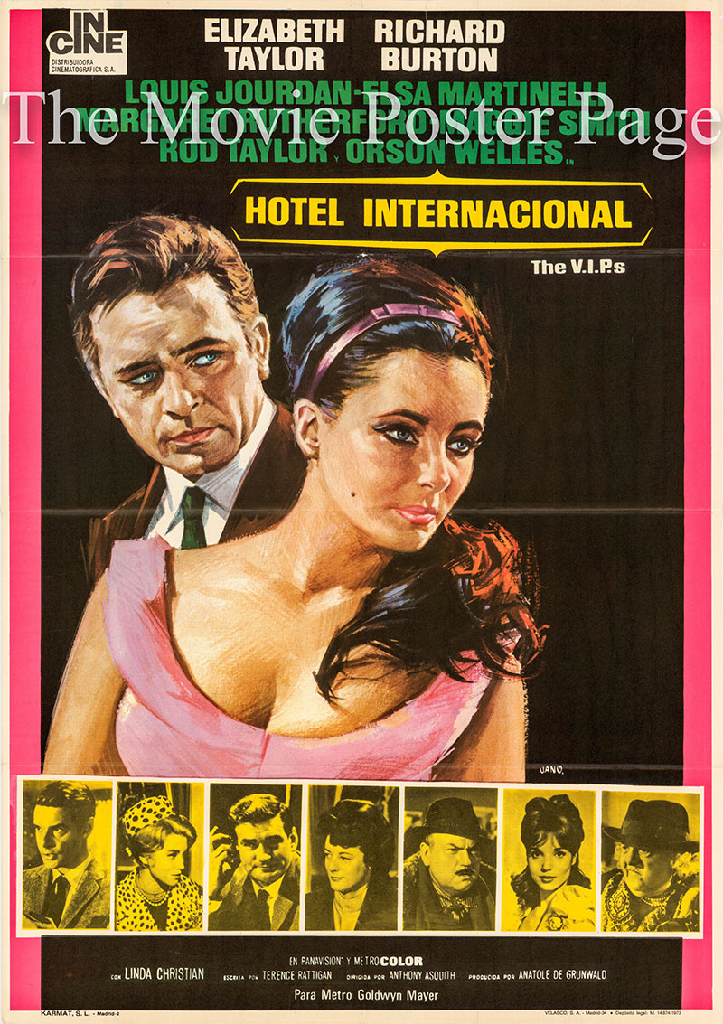 Pictured is a Spanish one-sheet poster for a 1973 rerelease of the 1963 Anthony Asquith film The VIPs starring Elizabeth Taylor as Frances Andros.
