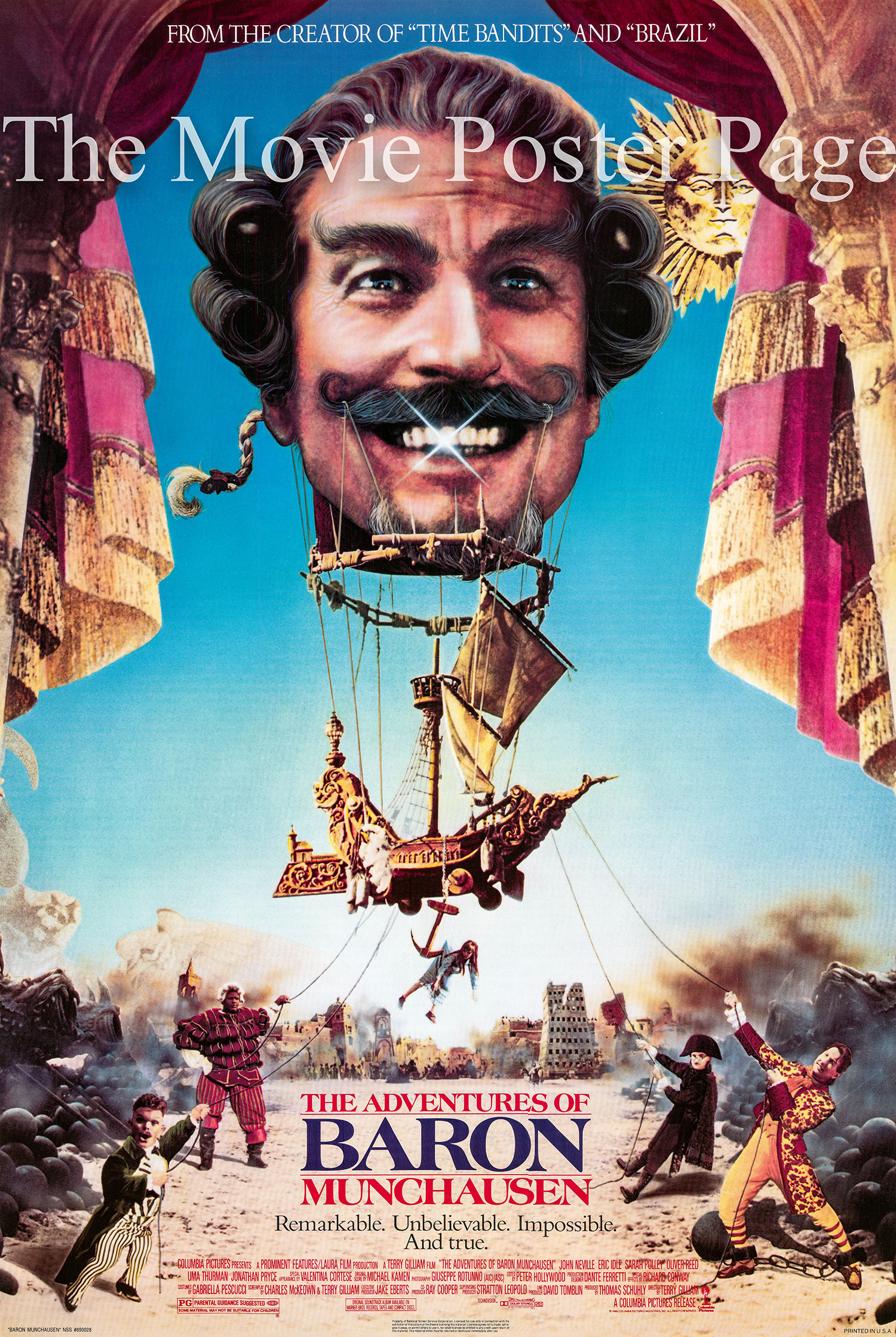 Pictured is a US one-sheet promotional poster for the 1989 Terry Gilliam film The Adventures of Baron Munchausen starring John Neville as the baron.