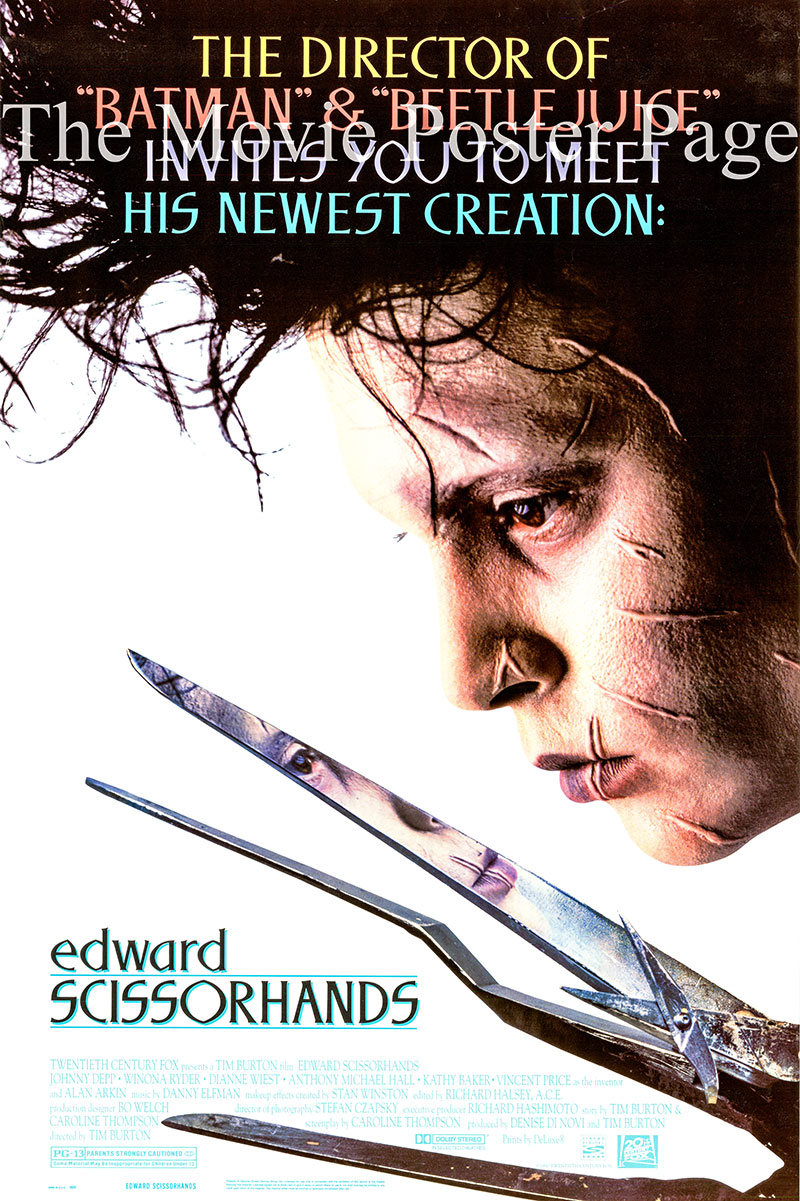 Pictured is a US promotional poster for the 1990 Tim Burton film Edward Scissorhands starring Johnny Depp.