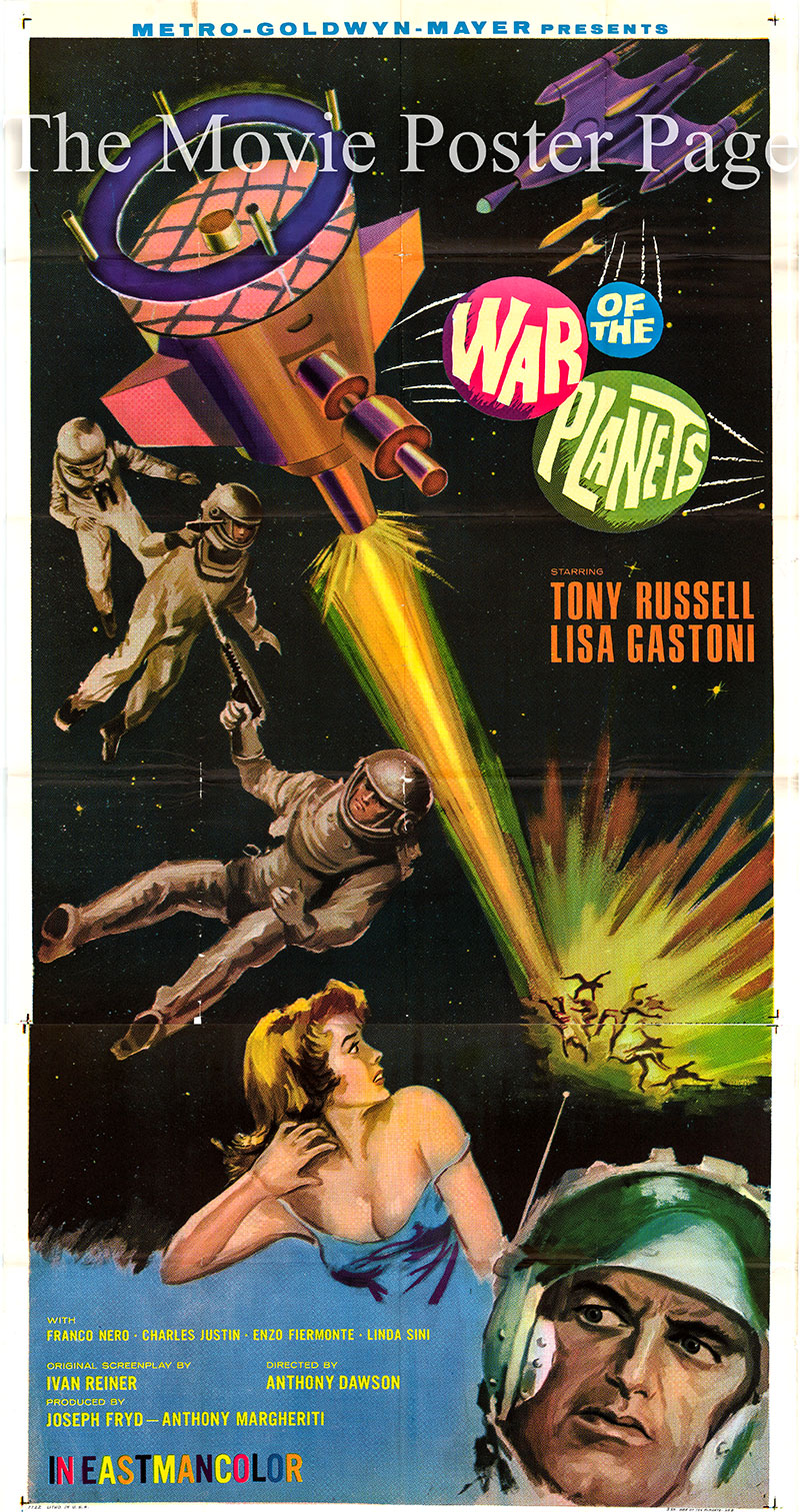 Pictured is a US three-sheet poster for the 1966 Antonio Margheriti film The War of the Planets starring Tony Russel as Commander Mike Halstead.