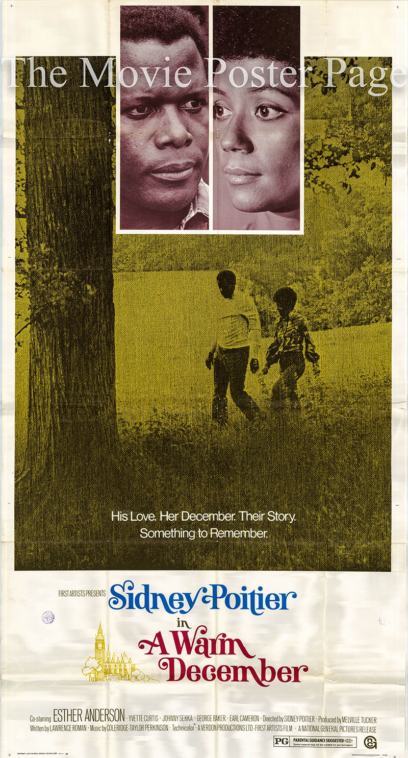Pictured is a US three-sheet poster for the 1973 Sidney Poitier film A Warm December starring Sidney Poitier as Dr. Matt Younger.