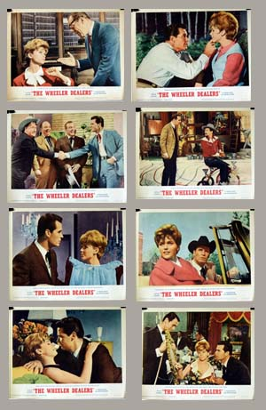 Pictured is a US lobby card set for the 1963 Arthur Hiller film The Wheeler Dealers starring Lee Remick as as Molly Thatcher.