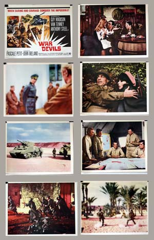 Pictured is a US lobby card set for the 1969 Bitto Albertini film War Devils starring Guy Madison.