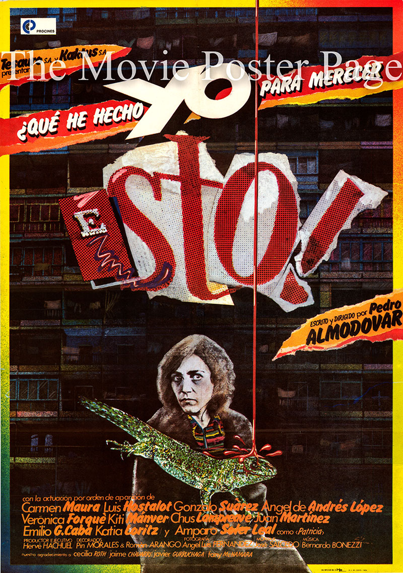 Pictured is a Spanish one-sheet poster for the 1984 Pedro Almodovar film What Have I Done to Deserve This starring Carmen Maura as Gloria.