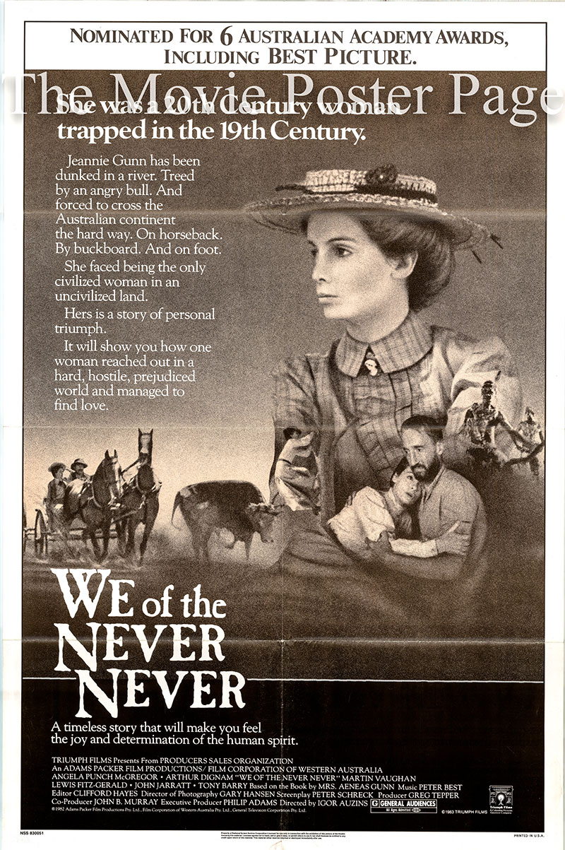 Pictured is a US one-sheet poster for the 1982 Igor Auzins film We of the Never Never starring Angela Punch McGregor as Jeannie Gunn.