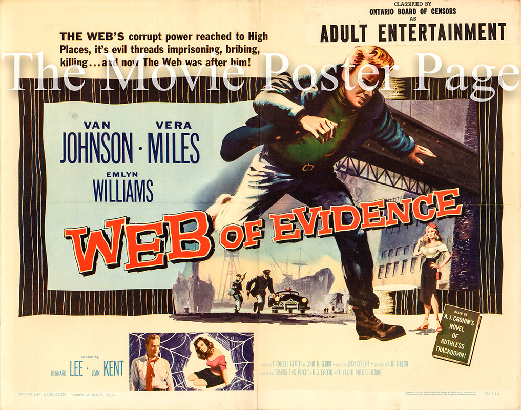 Pictured is a US half-sheet poster for the 1959 Jack Cardiff film Web of Evidence starring Van Johnson as Paul Mathry.