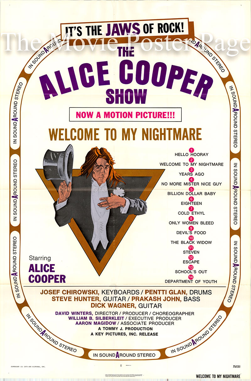 Pictured is a US one-sheet poster for the 1975 David Winters film Welcome to My Nightmare starring Alice Cooper.