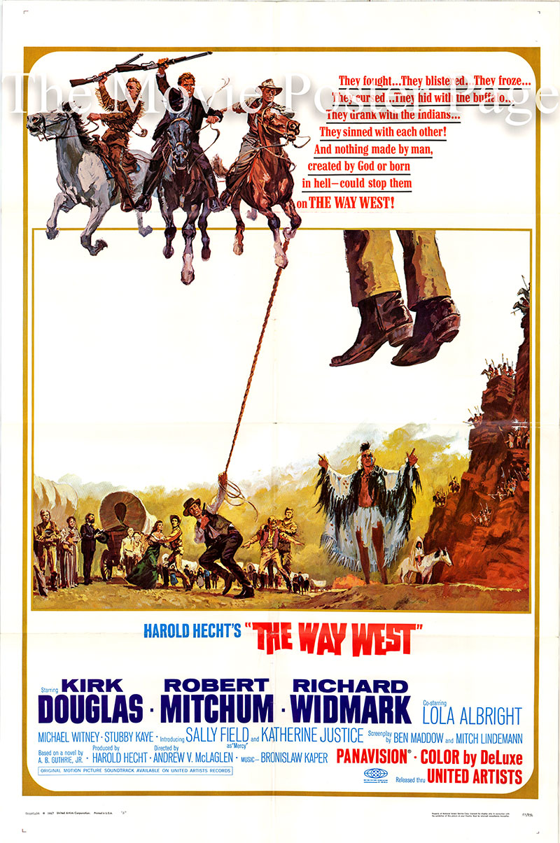 Pictured is a US one-sheet poster for the 1967 Andrew V. McLaglen film The Way West starring Kirk Douglas as Senator William J. Tadlock.
