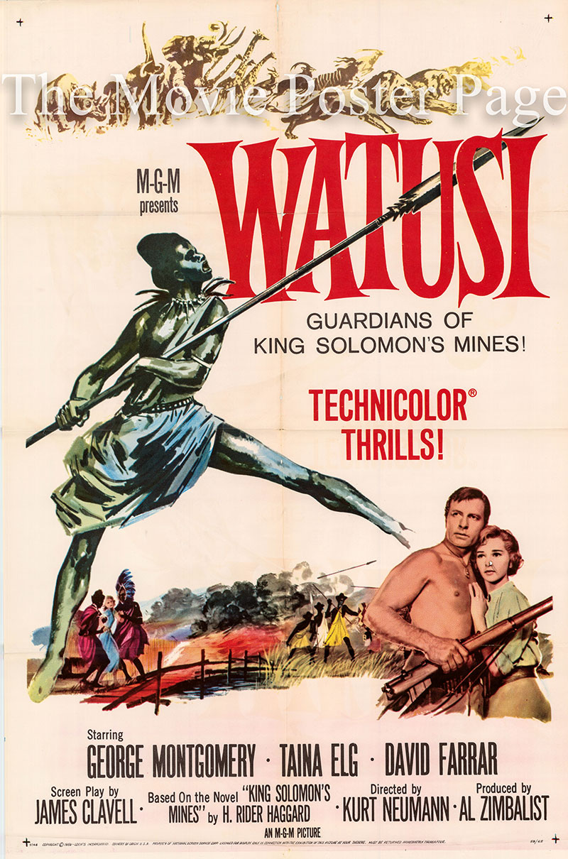 Pictured is a US one-sheet poster for the 1959 Kurt Neumann film Watusi starring George Montgomery as Harry Quartermain.