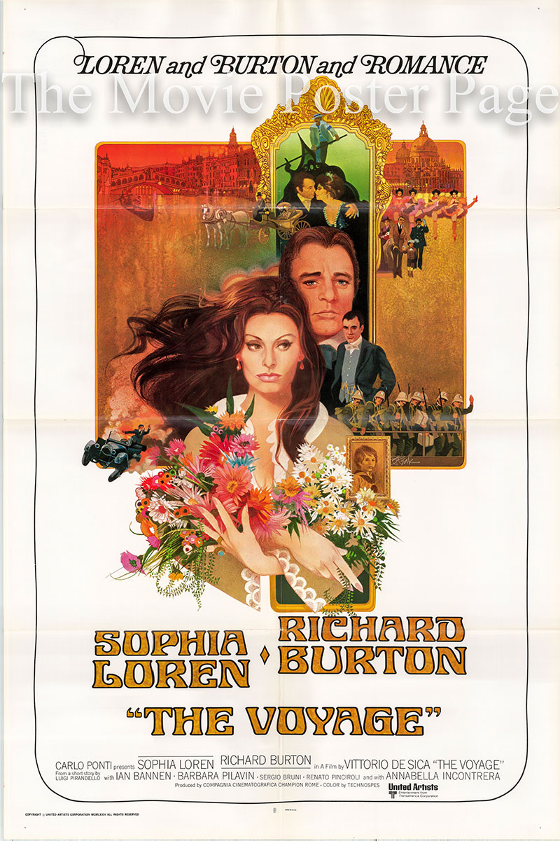 Pictured is a US one-sheet poster for the 1974 Vittorio De Sica film The Voyage starring Sophia Loren as Adriana de Mauro.