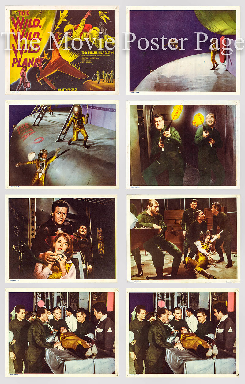 Pictured is a US lobby card set for the 1967 Antonio Margheriti film Wild, Wild Planet.