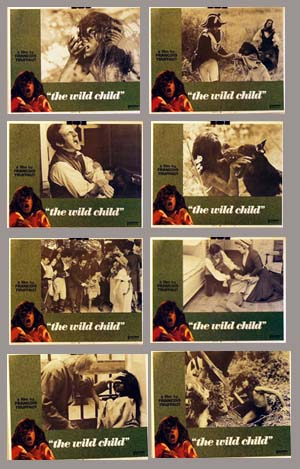 Pictured is a US lobby card set for the 1970 Francoise Truffaut film The Wild Child starring Jean-Pierre Cargol as Victor, the wild child.