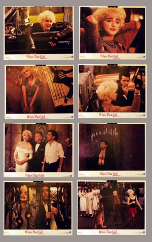 Pictured is a set of US lobby cards for the 1987 James Foley film Who's that Girl starring Madonna as Nikki Finn.