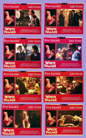Pictured is a US lobby card set for the 1990 Luis Mandoki film White Palace starring Susan Sarandon as Nora Baker.