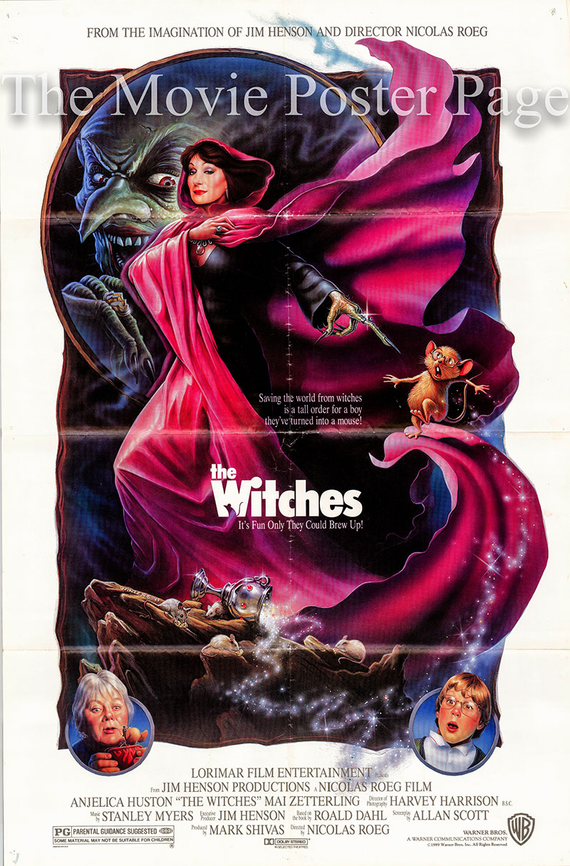 Pictured is a US one-sheet poster for the 1990 Nicolas Roeg film The Witches starring Anjelica Huston as the Grand High Witch.