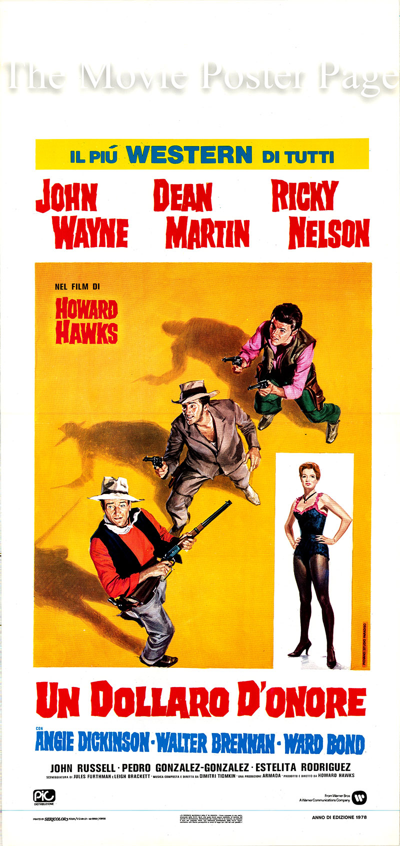 Pictured is an Italian locandina poster for a 1978 rerelease of the 1959 Howard Hawks film <i>Rio Bravo</i> starring John Wayne as Sheriff John T. Chance.