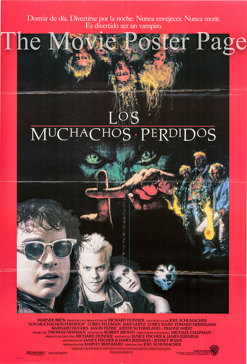 Pictured is a Spanish one-sheet poster for the 1987 Joel Schumacher film The Lost Boys starring Jason Patric.