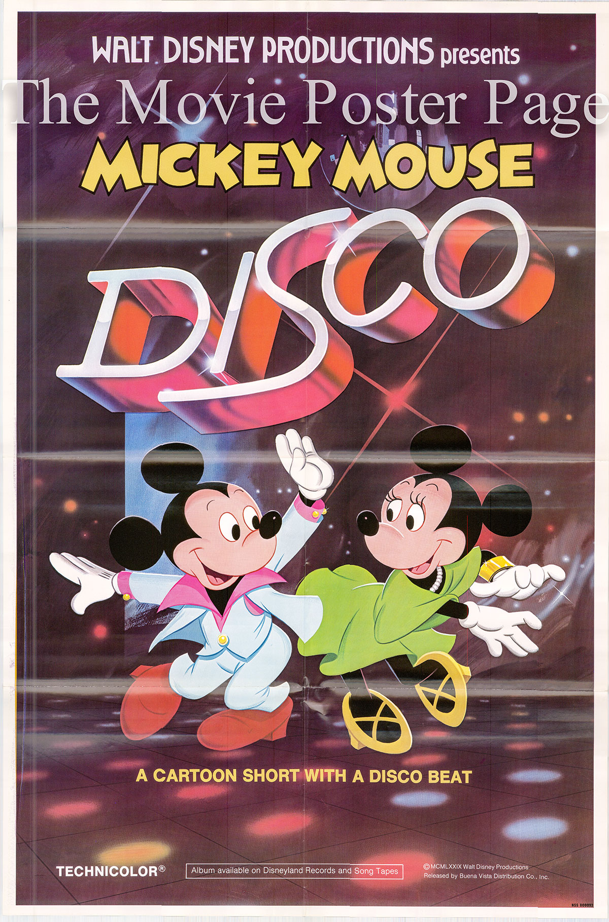 Pictured is a US one-sheet poster for the 1979 Disney cartoon short Disco Mickey starring Mickey Mouse.