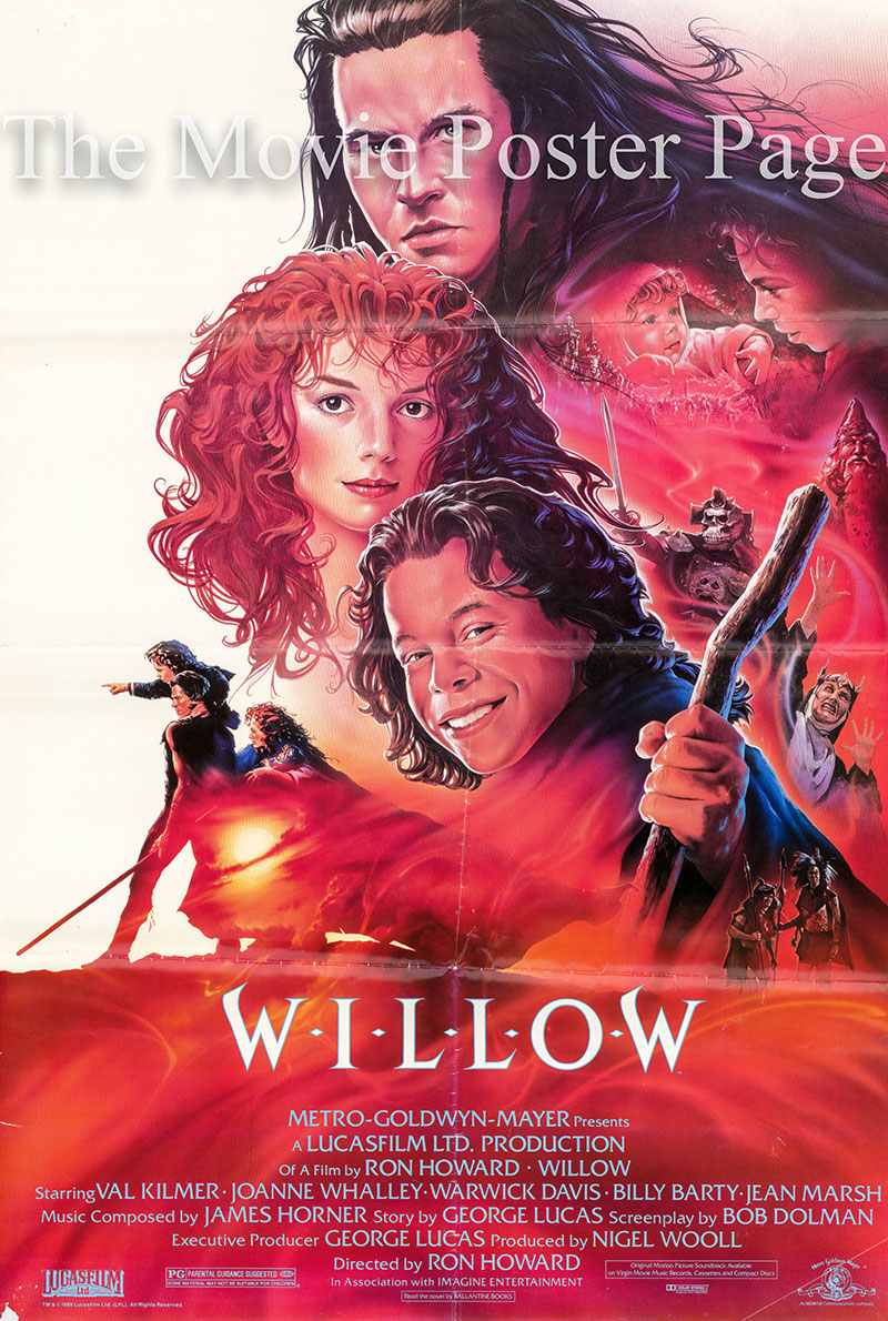 Pictured is a US one-sheet poster for the 1988 Ron Howard film Willow starring Val Kilmer as Madmartigan.